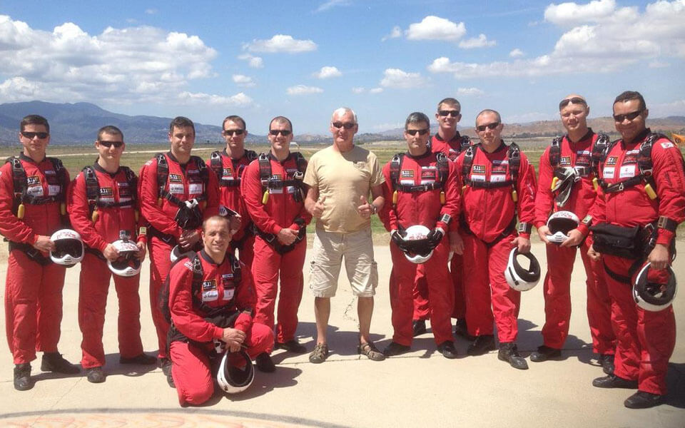 A photo of Scotty Milne with Red Devils at Skydive Elsinore in California, USA.