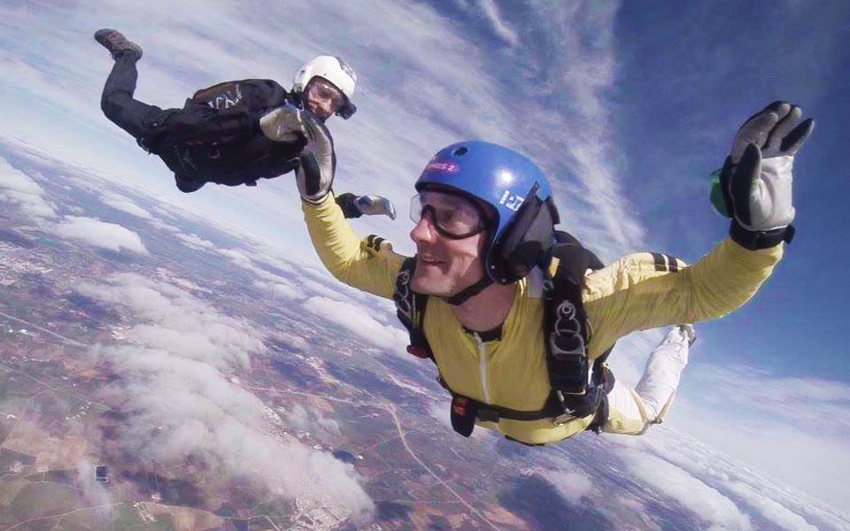 A student in Freefall on a residential AFF course.