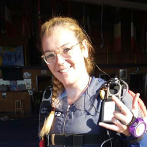 Photo of Rhiannon Morrissey learning to skydive with Active Skydiving AFF course.